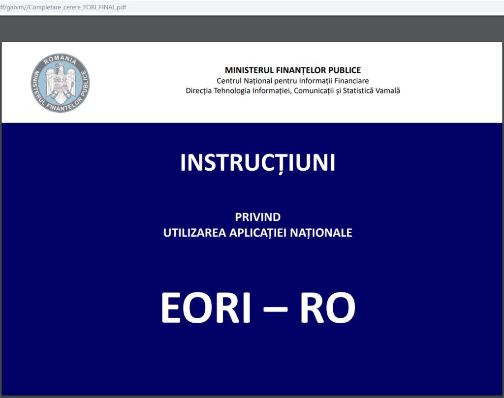 numărul EORI autoritățile  vamale