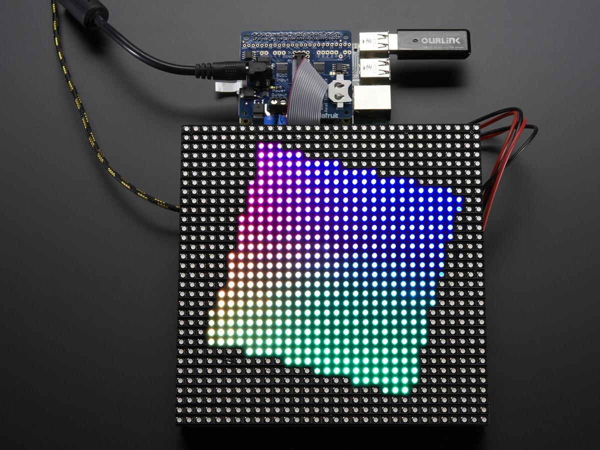Adafruit RGB Matrix + Real Time Clock ceas electronic ecran de dimeniuni mari necesarul de memorie