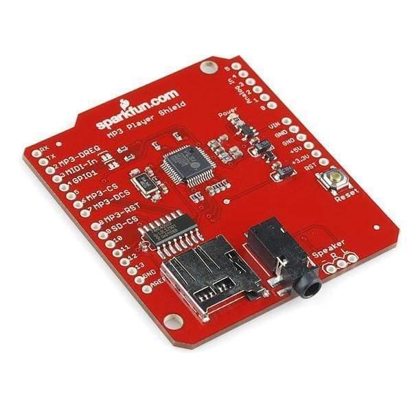 crisstel.ro MP3 Player Shield Shield-ul MP3 Player conține chip-ul VS1053b, capabil să decodeze stream-uri MP3, OGG Vorbis, AAC, WMA, MIDI, și de asemenea conține și un slot de card microSD pentru încărcarea fișierelor audio. Ce ai tu de făcut este să citești informația stocată pe SD card și să o trimiți către chip-ul MP3 MP3 Trigger MP3 Trigger este varianta mult îmbunătățită a lui shield-ului MP3 Player MP3 Trigger-ul poate funcționa chiar și standalone