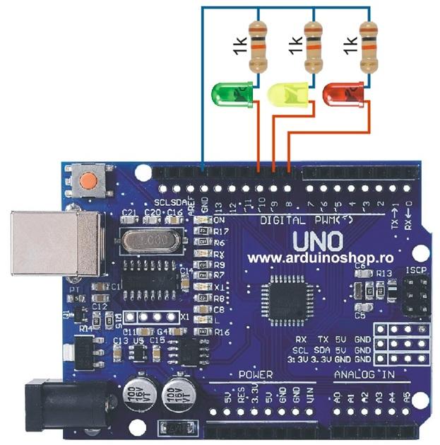 crisstel.ro Semafor, Trei Led-uri Brick pentru a genera un efect de tip semafor Rutina setup face același lucru ca în exemplul cu un singur led Lampa de veghe vom programa Arduino ca ori de câte ori nivelul de iluminare scade sub o anumita valoare să aprindă led-ul și să îl stingă atunci când nivelul de iluminare crește iarăși. Buton și LED Un proiect simplu care aprinde un led atunci când apeși un buton am înlocuit senzorul de lumina cu butonul