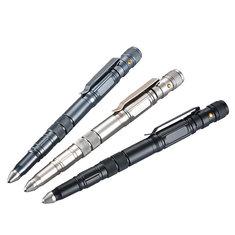 KALOAD EDC Tactical Pen Aluminum Alloy Attack Head Flashlight Blade Outdoor Emergency Safe Security Tool