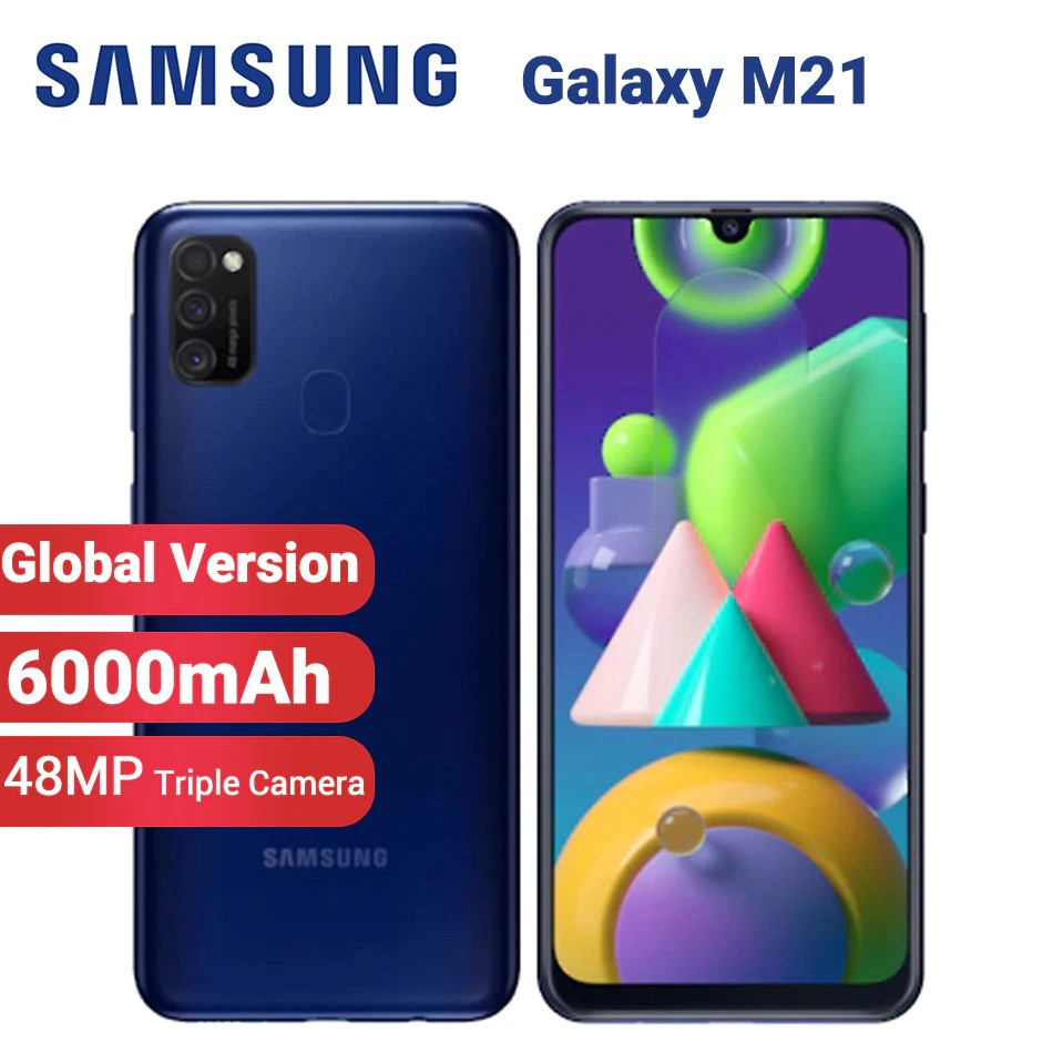 Global Version Samsung Galaxy M21 M215F/DS Mobile Phone 6000mAh Dual SIM n64GB 4GB 6.4 inch Exynos 9611 48MP Android 10 4G Smartphone