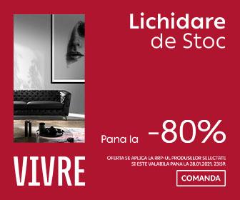 LICHIDARE DE STOC pana la -80% || 19 -28 ianuarie pe Vivre.ro