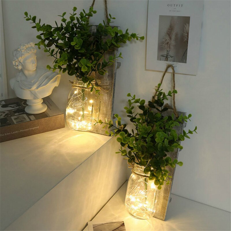 2 Pcs LED Copper Wire Light Mason Jar Flower Room Decor Wall Light for Garden Patio Living Room Bedroom