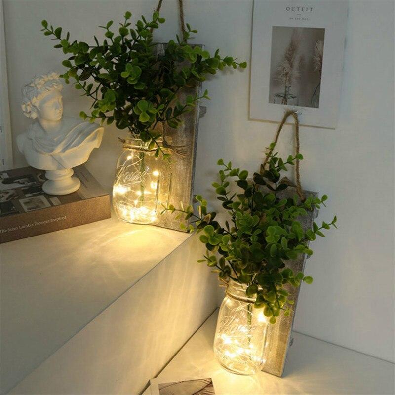 2 Pcs LED Copper Wire Light Mason Jar Flower Room Decor Wall Light for Garden Patio Living Room Bedroom