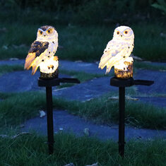 LED Owl Solar Powered Garden Light Resin Statue Lamp Outdoor Ornament Lawn