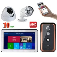 ENNIO 10 inch Wired Wifi Video Doorbell Intercom Entry System and 2CH AHD Security Camera,Support Remote APP intercom,unlocking,Recording