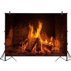 2x1ft 3x2ft E21008 Ethylene Propylene Hearth Flame Wood Block Decor Photography Backdrop Background Party Wallpaper