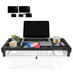 Rotatable Computer Monitor Stand Laptop Height Stand USB Charging Storage Plastic Shelf
