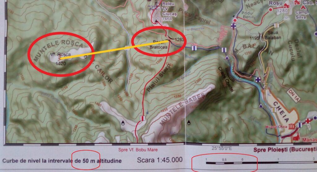 harta turistică curbe curbele de nivel profil teren relief