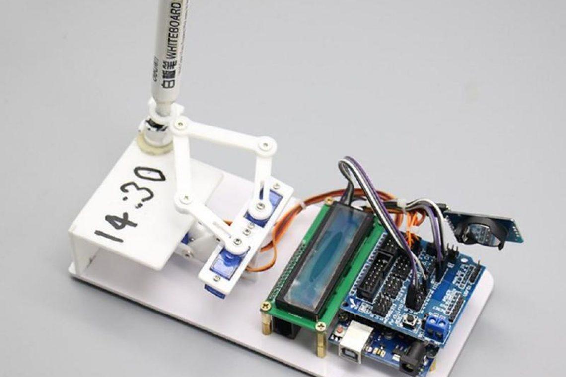 crisstel.ro Ceasul Plotclock și placa Arduino Ceasul Plotclock este un ceas construit din componente printate 3D și este programat prin intermediul unei placi Arduino să iți afișeze cât este ora ceasul Plotclock este programat să scrie cât este ora să o șteargă și apoi să o scrie din nou în repetate rânduri Cum se construiește un astfel de ceas? Placa Arduino este programată sa citească în mod constant timpul din plăcuța RTC și să comande servomotoarele în așa maniera încât marker-ul să scrie cât este ora Obiectele ce compun ceasul se pot construi cu ajutorul unei imprimante 3D timpul de printare fiind de aproximativ 2 ore Pentru a construi obiectele cu imprimanta 3D vei avea nevoie de câteva fișiere în format stl Ceasul nu ar fi capabil să îți indice ora dacă placa Arduino nu ar fi programată Ceea ce trebuie sa faci acum este sa descarci codul sursa și să îl încarci în placa Arduino