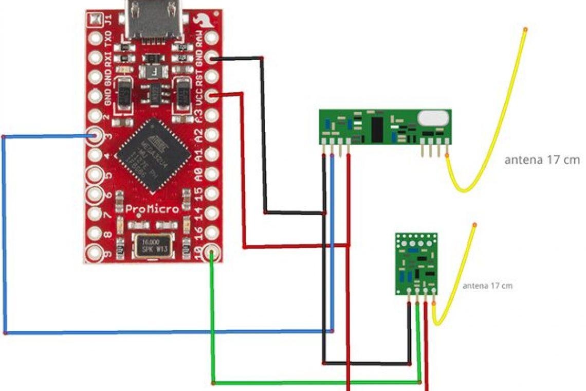 crisstel.ro Convertor ASK USB comunicație radio bandă ISM de 433MHz dispozitive fără fir module radio ASK sistemul de comandă Arduino Pro Micro microcontroler ATmega 32U4