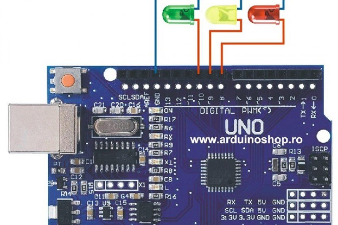 Semafor, Trei Led-uri Brick pentru a genera un efect de tip semafor Rutina setup face același lucru ca în exemplul cu un singur led Lampa de veghe vom programa Arduino ca ori de câte ori nivelul de iluminare scade sub o anumita valoare să aprindă led-ul și să îl stingă atunci când nivelul de iluminare crește iarăși. Buton și LED Un proiect simplu care aprinde un led atunci când apeși un buton am înlocuit senzorul de lumina cu butonul