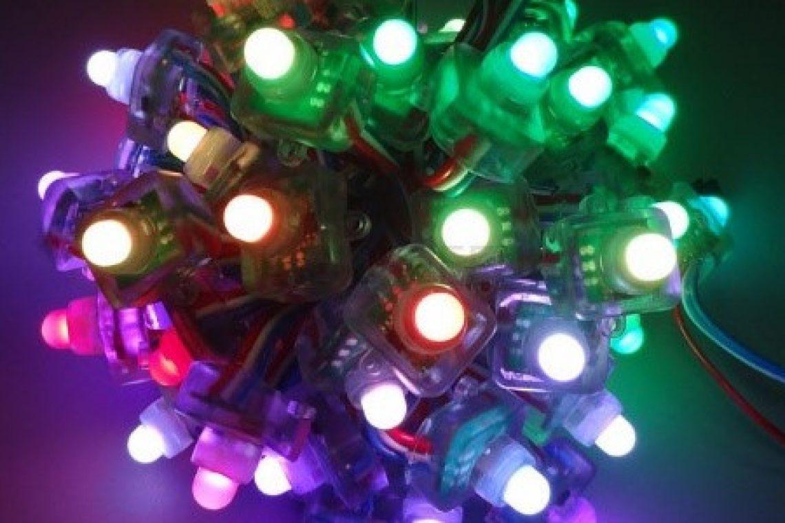 crisstel.ro Yun Christmas Lights Luminițele mele de Crăciun rulează Linux placă de dezvoltare Arduino Yun Linux OpenWRT Atheros AR9331 ATmega32U4 25 de LED-uri RGB WS2801 firul de clock firul de date Arduino Industrial 101