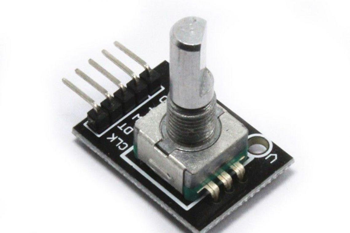 crisstel.ro Encoder rotativ și Arduino Despre encodere rotative Encoderul este un dispozitiv electro-mecanic care converteste pozitia unghiulară sau mișcarea unui arbore într-un semnal analogic sau digital Exista două tipuri de configurații mecanice pentru encodere optice: encodere rotative si encodere liniare Encoderele rotative optice sunt cel mai frecvent întâlnite în diverse sisteme de control în timp ce encoderele liniare sunt utilizate în special pentru aplicații de poziționare liniară encoderul este folosit pentru a măsura cu precizie rotația motoarelor (viteza nr. de pași) dar este utilizat și ca buton care se poate roti la infinit (fără cap de cursa ca la potențiometru) Exista concedere echipate cu buton care se acționează atunci când apeși pe axul encoderului un player MP3 poate fi echipat cu un encoder rotativ având un buton în centru Atunci când rotești encoderul poți schimba melodia sau volumul iar atunci când apeși butonul central (axul encoderului) poți opri/porni melodia Acesta este avantajul unui encoder în comparație cu un potențiometru dar este necesară memorarea numărului de pași pentru a cunoaște exact poziția Majoritatea encoderelor utilizează 3 pini unul se conectează la GND iar ceilalți 2 la pinii plăcii Arduino sau orice alt microcontroler analizând combinațiile de stări placa Arduino detectează direcția de rotație și numărul de pași parcurși de encoder